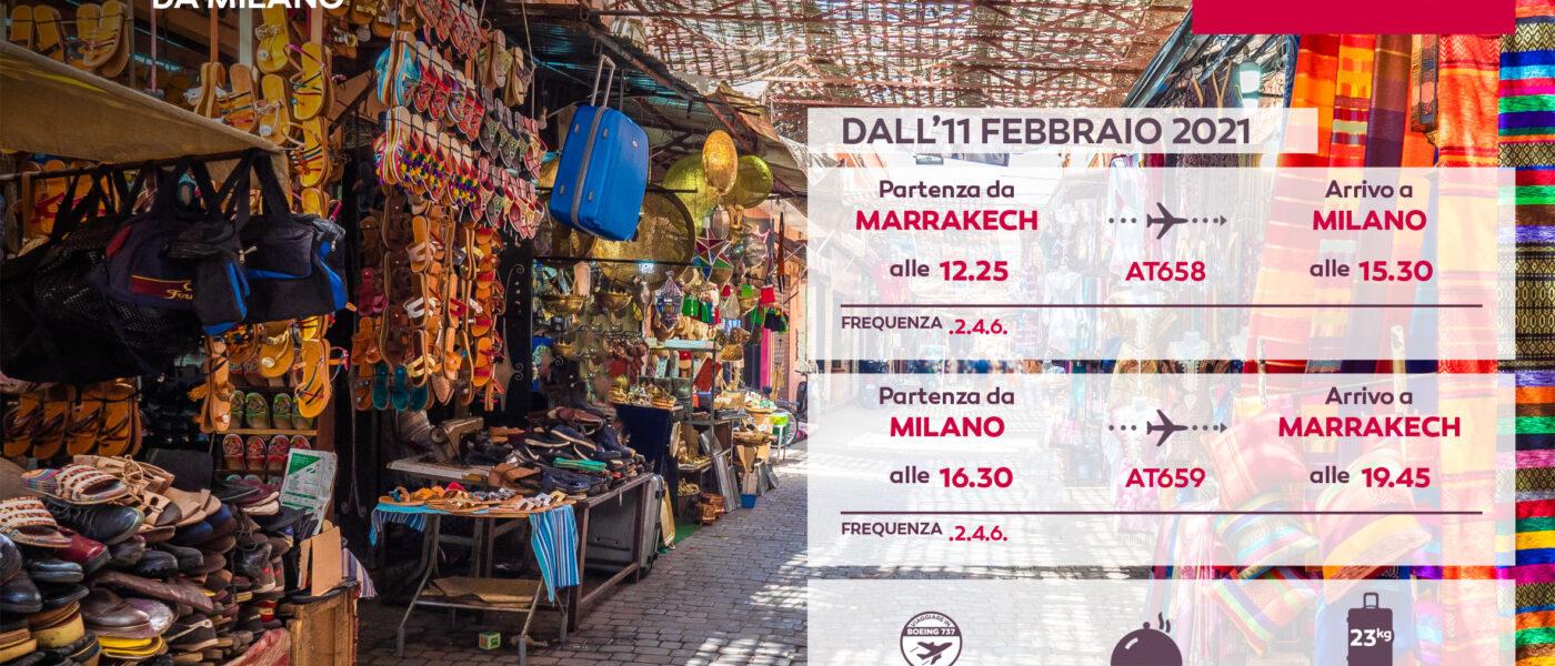 MAROCCO – dal 11/2/2021 un nuovo volo diretto Milano/Marrakech