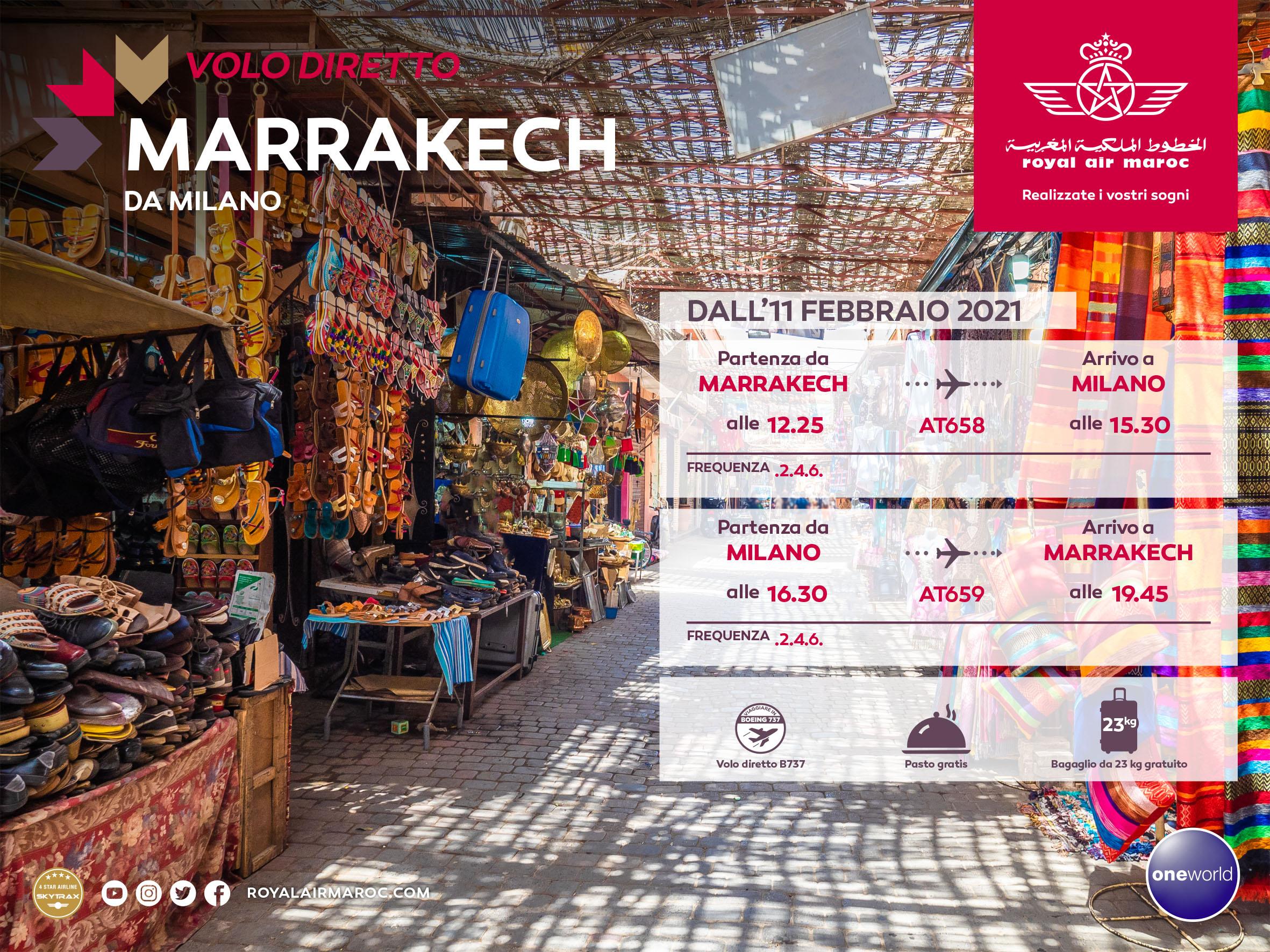 MOROCCO – as from 11/Feb/2021 a new RAM direct flight Milan/Marrakech